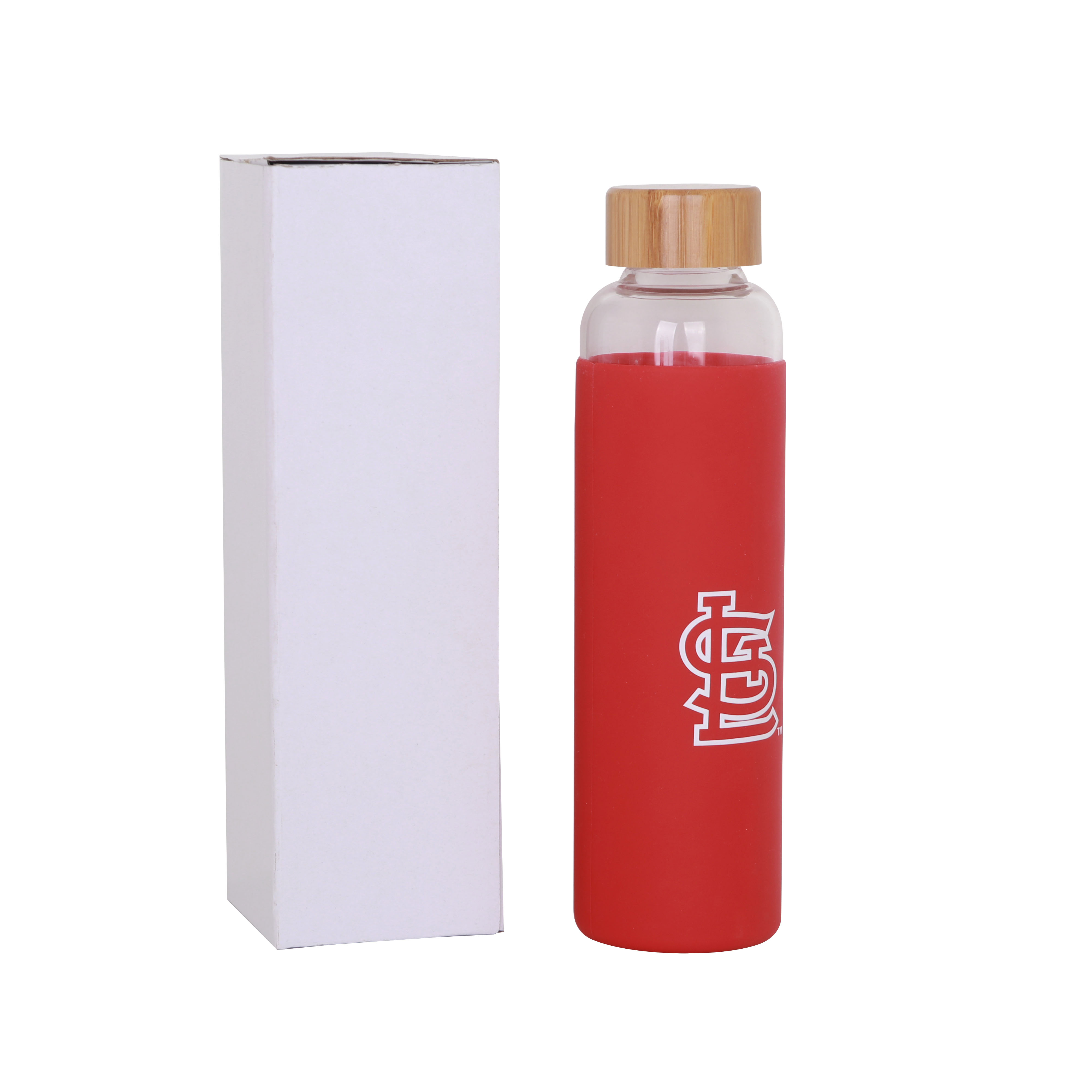 550ml Glass Drink Bottle with Bamboo Lid - PCD056 Image